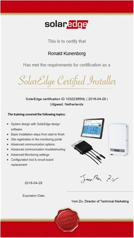 SolarEdge certificaat reda solar